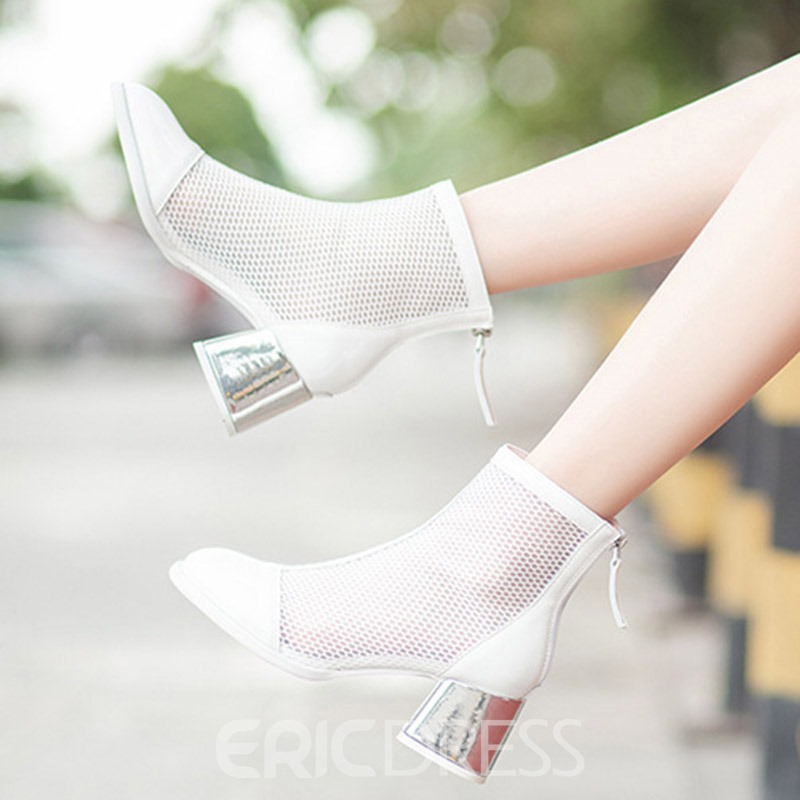 Ericdress PU Round Toe Chunky Heel Back Zip Women's Ankle Boots