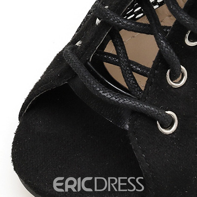 Ericdress Serpentine Lace-Up Hollow Stiletto Heel Women's Ankle Boots