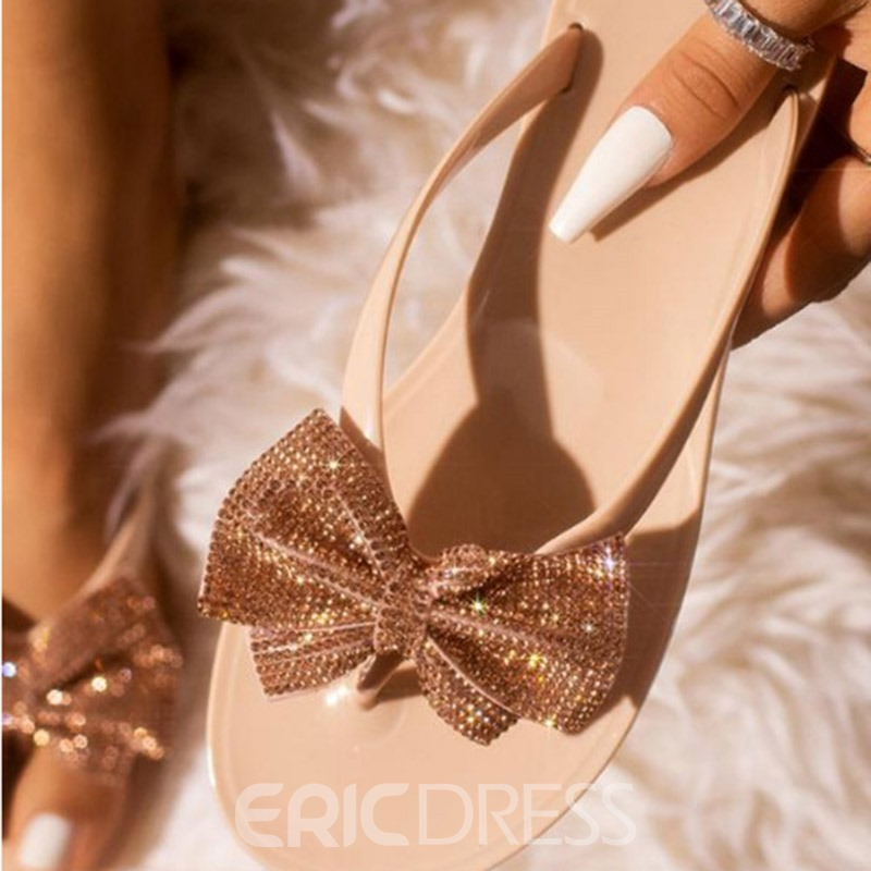 Ericdress Bow PVC Slip-On Women's Casual Slippers