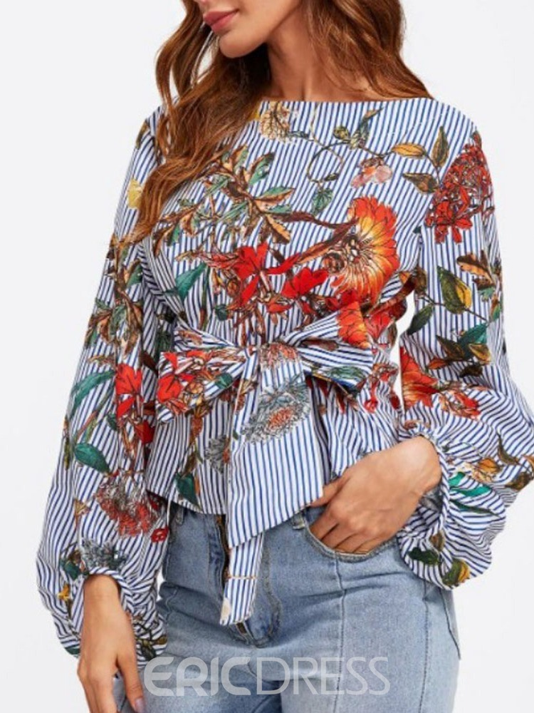 Ericdress Floral Lantern Sleeve Bowknot Stripe Fashion Blouse