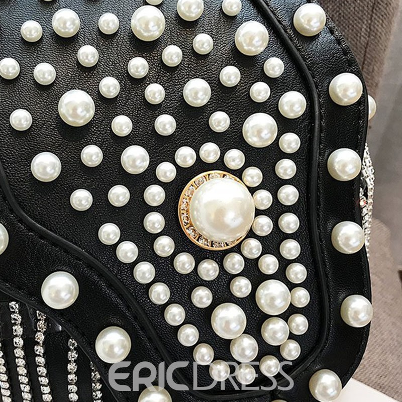 Ericdress Rivet Beads Pearl Tassels Crossbody Bag