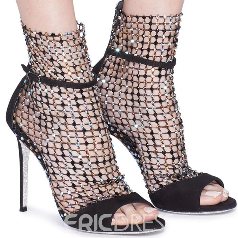 Ericdress Mesh Peep Toe Zipper Stiletto Heel Women's Ankle Boots