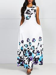 Ericdress Pocket Print Round Neck Ankle-Length Sweet Expansion Dress фото