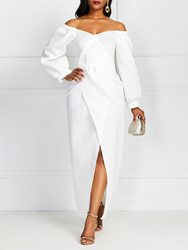 Ericdress Split Mid-Calf V-Neck Plain Standard-Waist Bodycon White Dress фото