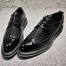 Ericdress Plain Pointed Toe Lace-Up Block Heel Men's Dress Shoes