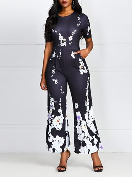 Ericdress Plus Size Floral Print Off Shoulder High Waist Jumpsuit