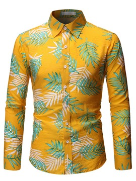 Ericdress Color Block Print Lapel Men's Single-Breasted Shirt