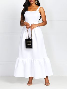 Ericdress Square Neck Sleeveless Floor-Length Standard-Waist White Dress