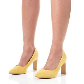 Ericdress Faux Suede Chunky Heel Slip-On Pointed Toe Women's Pumps