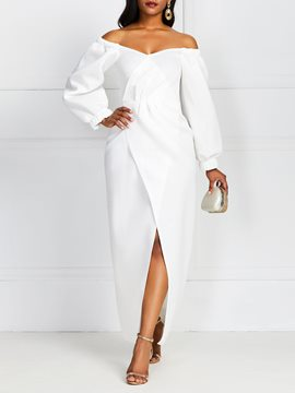 Ericdress Split Mid-Calf V-Neck Plain Standard-Waist Bodycon White Dress