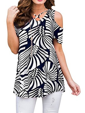 ericdress color block print kurzarm mittellange bluse