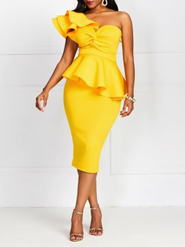 Ericdress One-Shoulder Short Sleeve OL Ruffle High Waist Yellow Dress