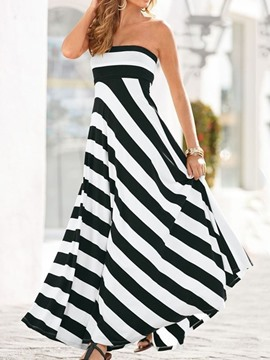 Ericdress Print Sleeveless Floor-Length Party Strapless Striped Dress