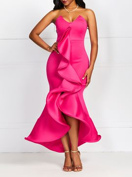 Ericdress Strapless Floor-Length Sleeveless V-Neck Asymmetrical Rose Bodycon Dress