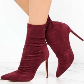 Ericdress Faux Suede Back Zip Pointed Toe Stiletto Heel Women's Ankle Boots