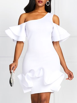 Ericdress Ruffle Sleeve Oblique Collar Knee-Length Bodycon High Waist White Dress