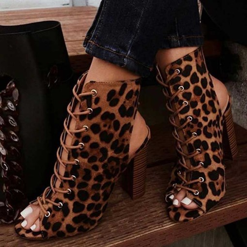 Ericdress Leopard Print Chunky Heel Peep Toe Cross Strap Women's Sandals