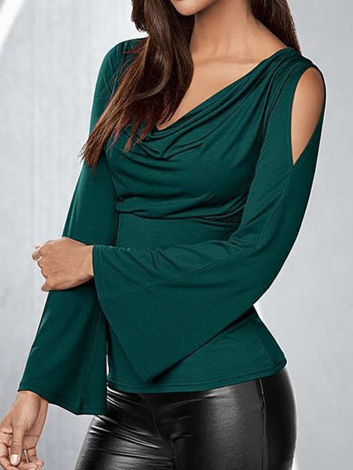 Ericdress Flare Sleeve Pleated Standard Elegant Slim T-Shirt