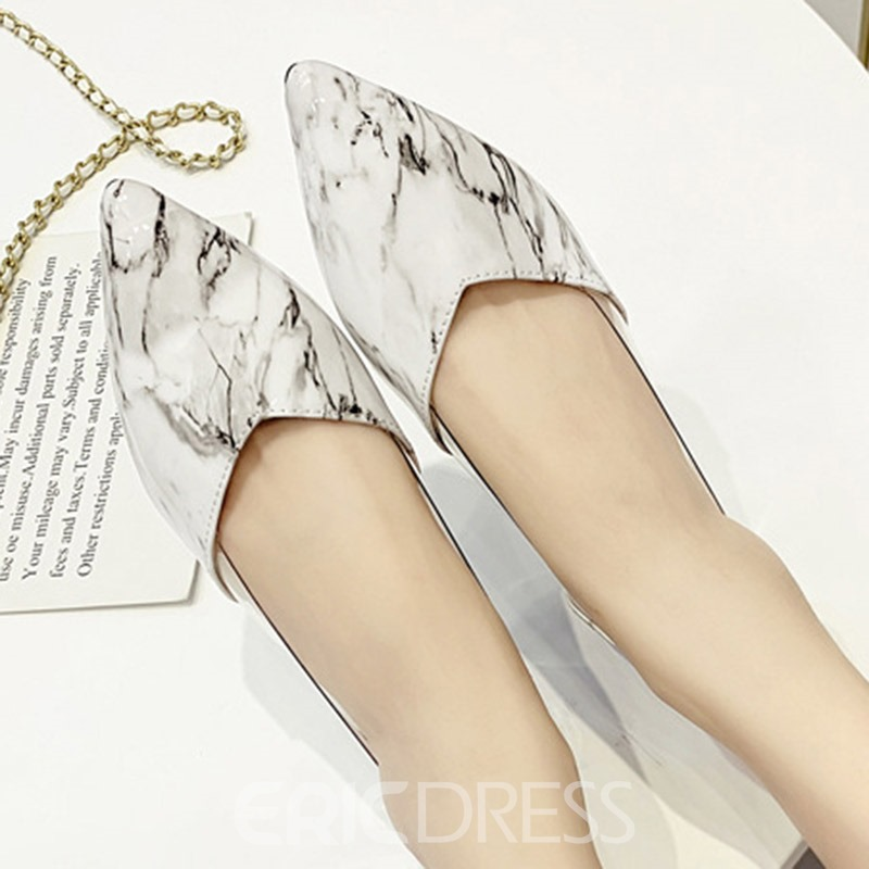 Ericdress Color Block Slip-On Block Heel Pointed Toe Women's Flats