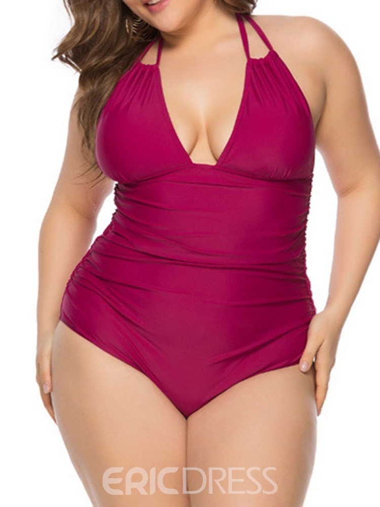 Ericdress Plus Size Plain Pleated Sexy Lace-Up Swimwear