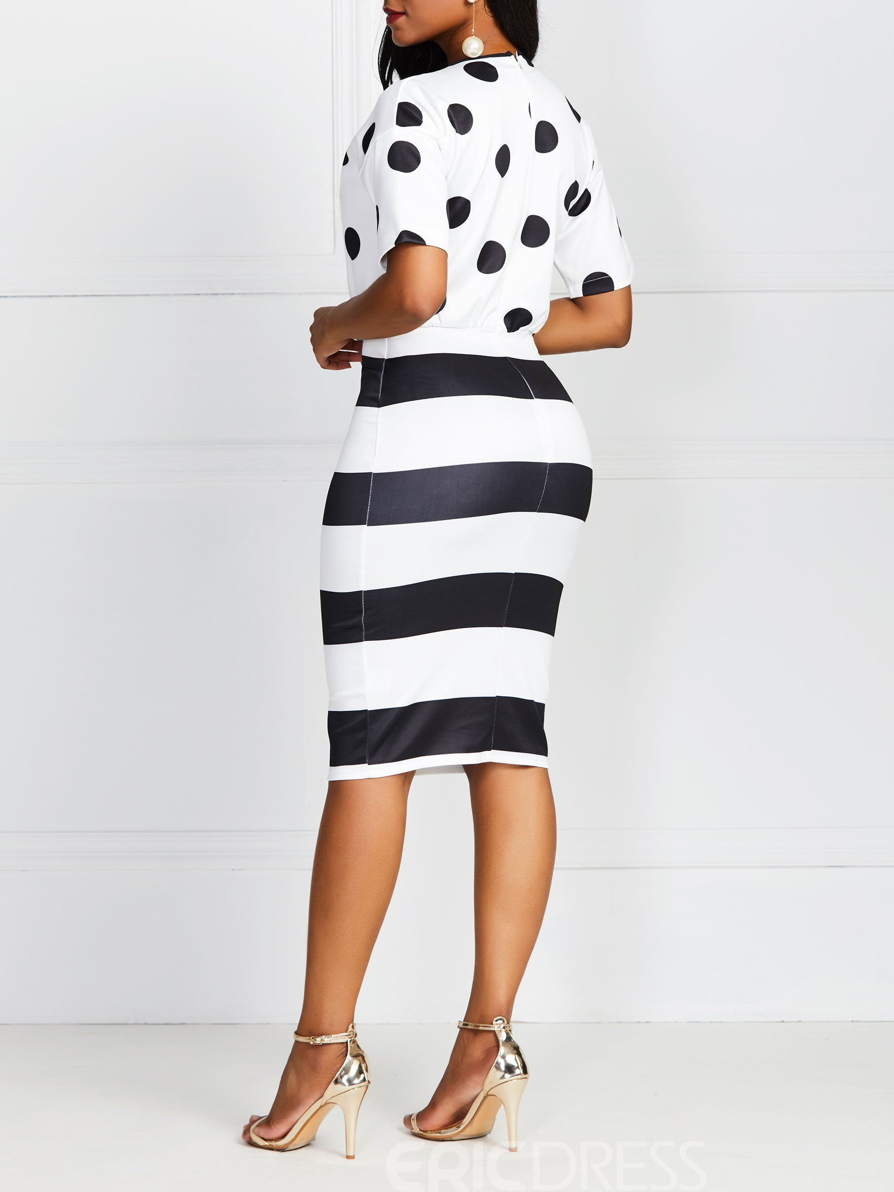 Ericdress Polka Dots Striped Knee-Length Short Sleeve Color Block OL Bodycon Dress