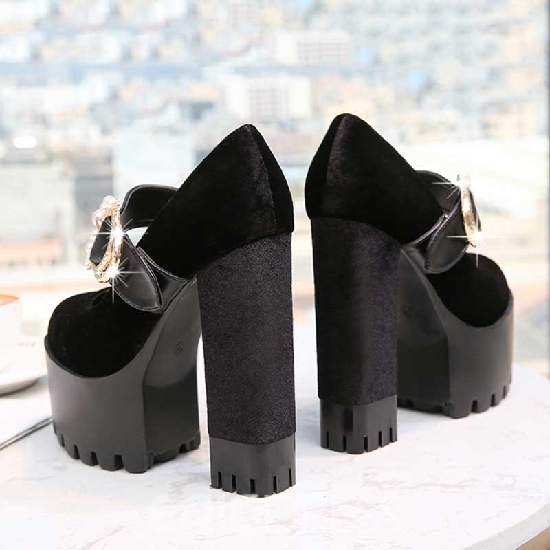 Ericdress Faux Suede Beads Chunky Heel Round Toe Women's Prom Shoes