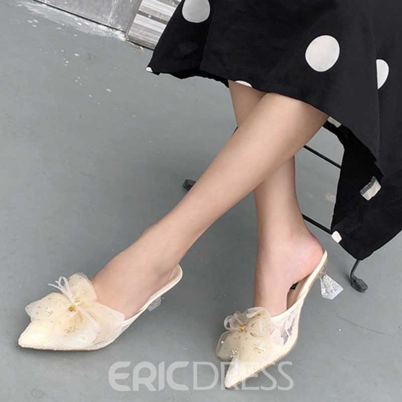 Ericdress Applique Shaped Heel Closed Toe Slip-On Women's Mules Shoes