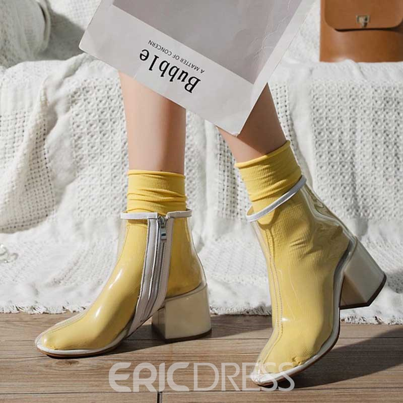 Ericdress PVC Chunky Heel Side Zipper Round Toe Women's Ankle Boots