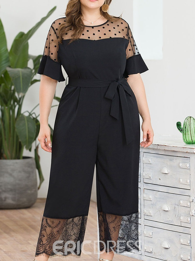 Ericdress Plus Size Ankle Length Polka Dots Wide Legs High Waist Jumpsuit