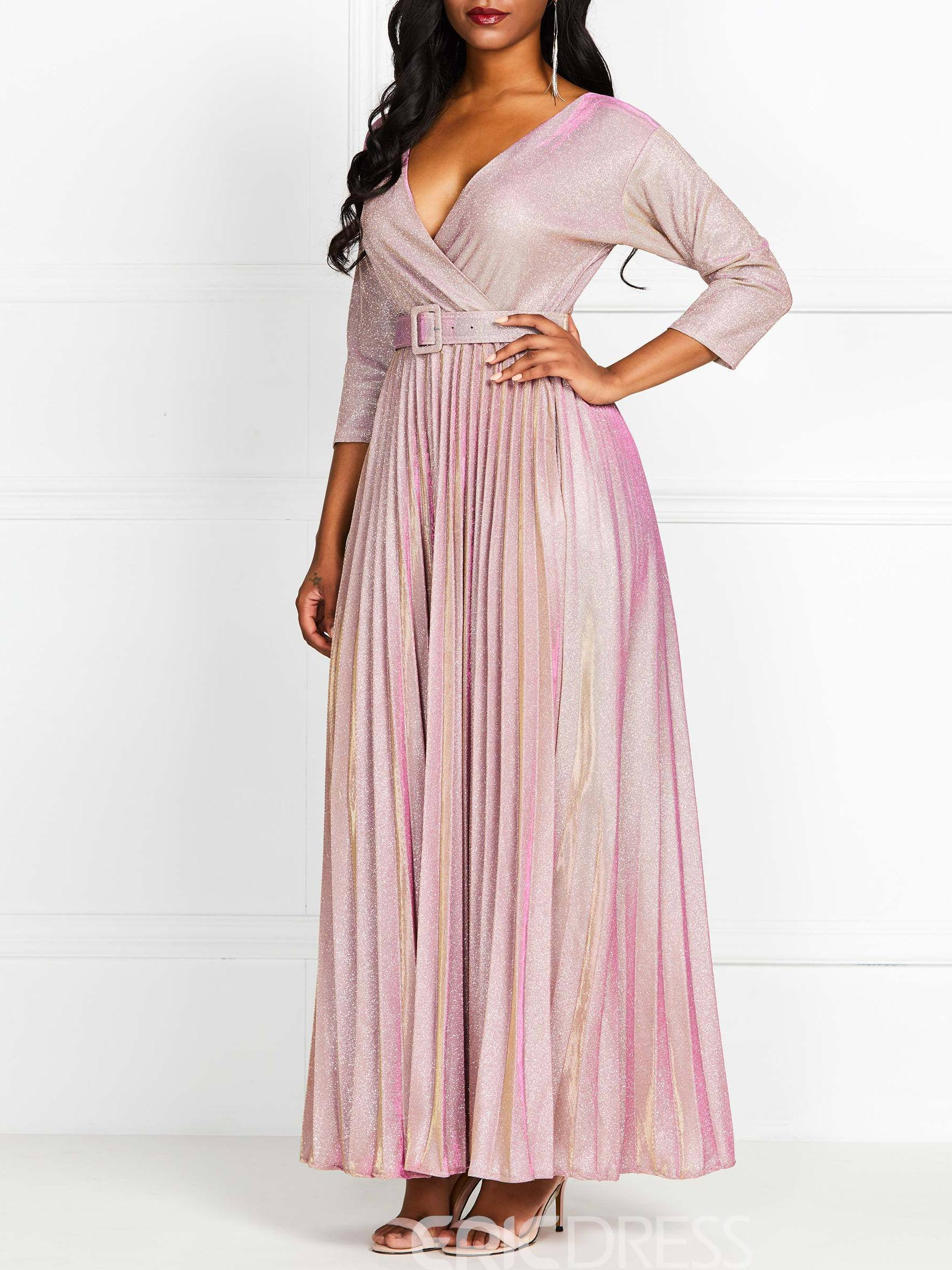 Ericdress Plain V-Neck Belt Pullover Pleated Maxi Dress