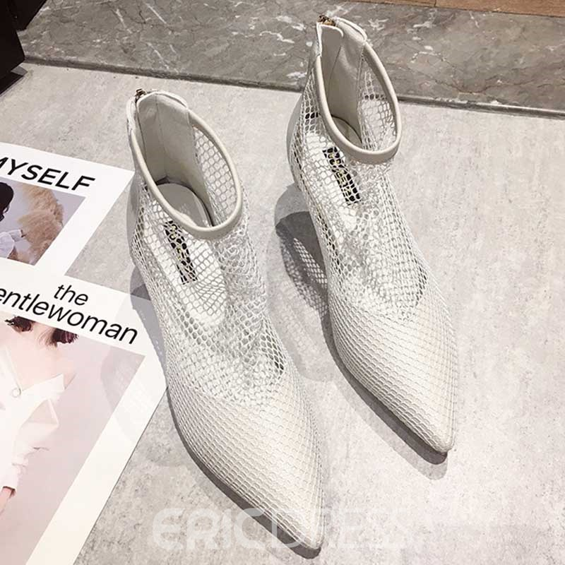 Ericdress Hollow Pointed Toe Back Zip Stiletto Heel Women's Ankle Boots