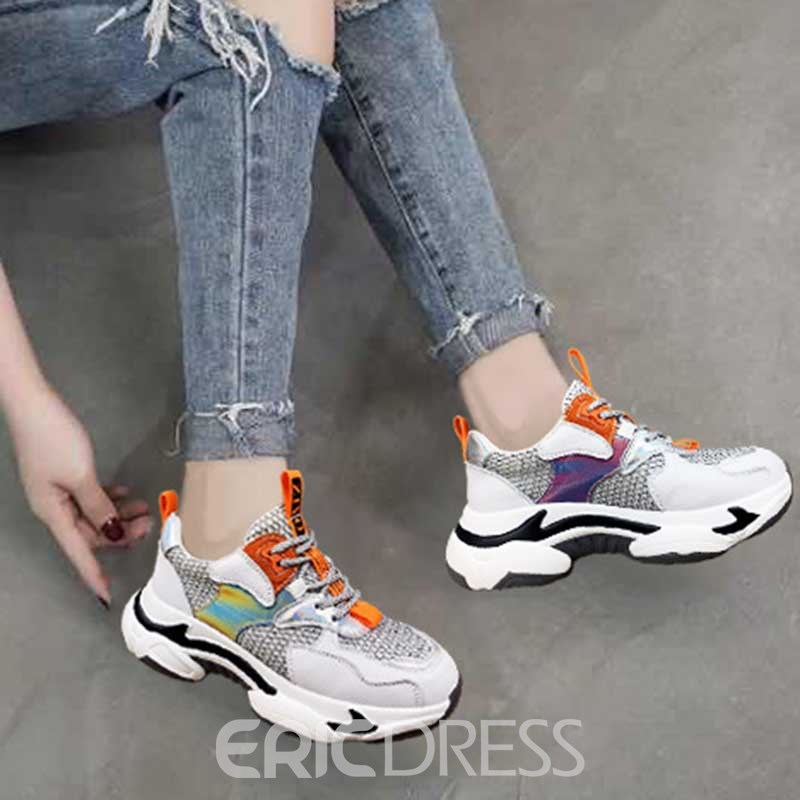 Ericdress Patchwork Platform Round Toe Lace-Up Women's Sneakers
