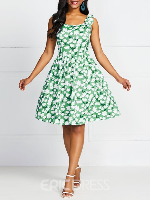 Ericdress A-Line Sleeveless Lace-Up Knee-Length Floral Casual Green Dress
