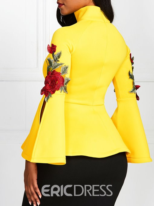 Ericdress Appliques Floral Flare Sleeve Standard Slim Blouse