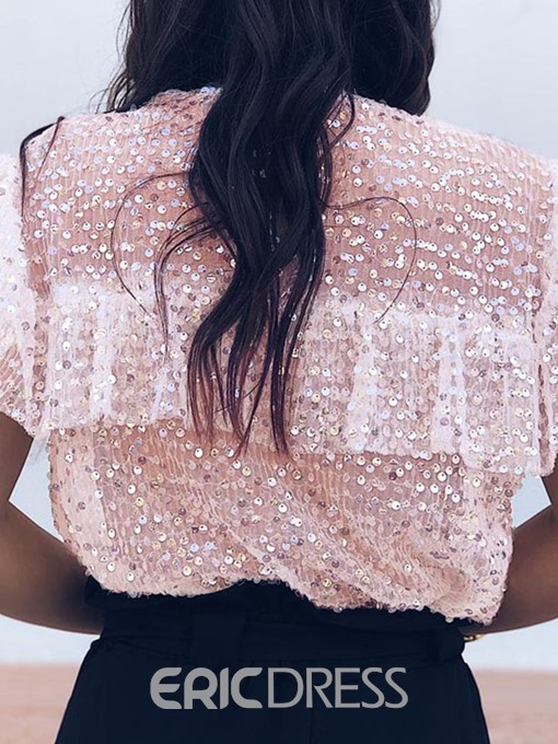 Ericdress Patchwork Sequins Round Neck Short Sleeve Fashion Blouse