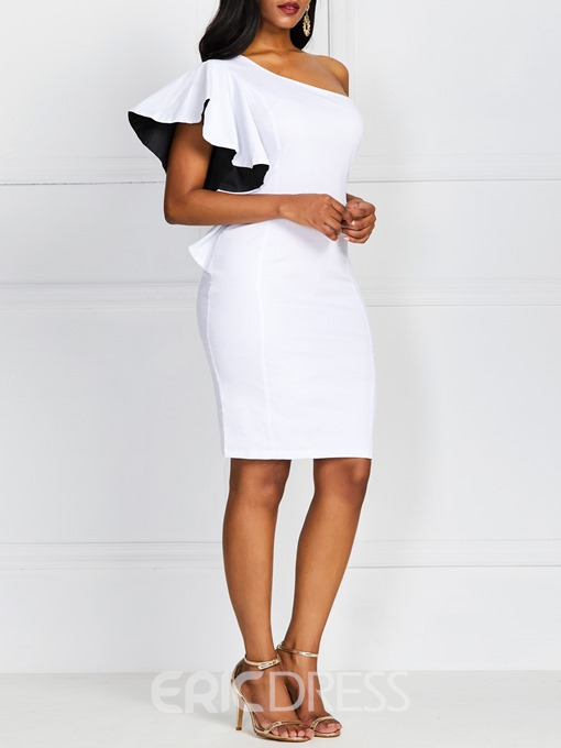 Ericdress Asymmetric OL Knee-Length Short Sleeve Oblique Collar Bodycon White Dress