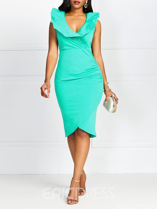 Ericdress Asymmetric Falbala Knee-Length V-Neck Plain Bodycon Dress