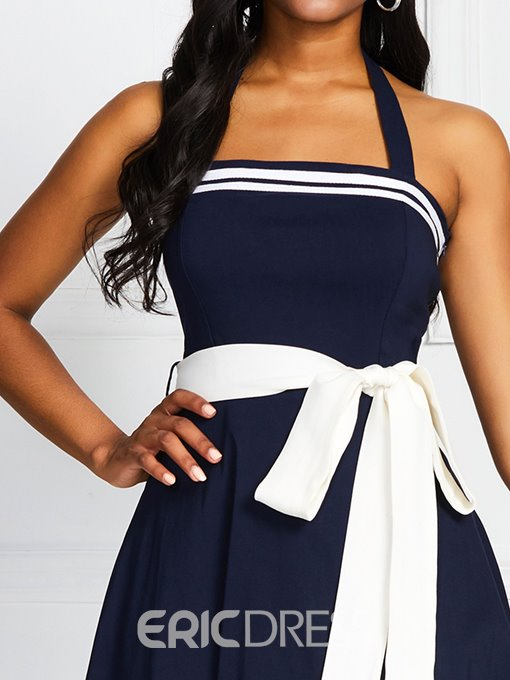 Ericdress Color Block Sleeveless Mid-Calf Bowknot Summer High Waist Dress