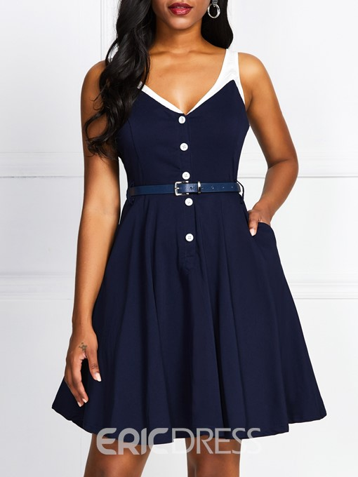 Ericdress A-Line Pocket V-Neck Button Above Knee OL Pullover Dress