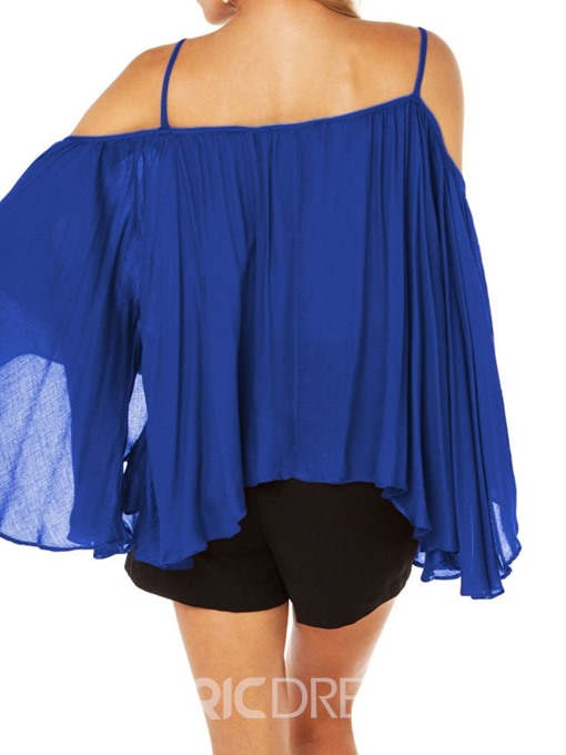 Ericdress Asymmetric Off-Shoulder Flare Sleeve Pleated Casual Blouse