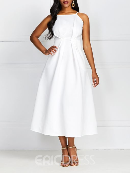 Ericdress A-Line Mid-Calf Sleeveless Scoop Standard-Waist Plain White Dress