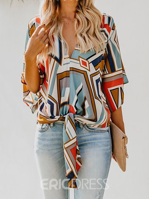 Ericdress V-Neck Color Block Print Flare Sleeve Lace-Up Casual Blouse