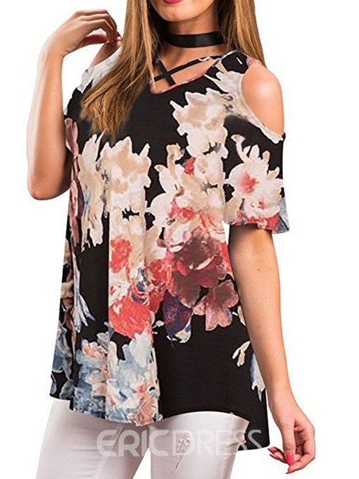 Ericdress Color Block Print Hollow Short Sleeve Casual Blouse