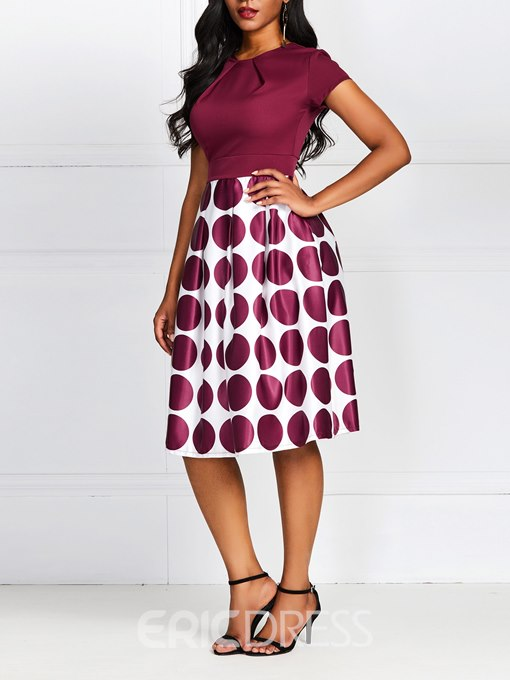 Ericdress Polka Dots A-Line Patchwork Above Knee Short Sleeve Dress