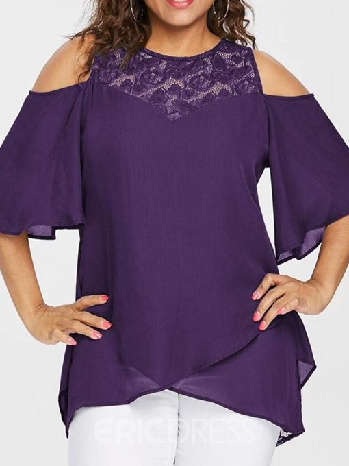 Ericdress Plus Size Patchwork Lace Flare Sleeve Casual Blouse