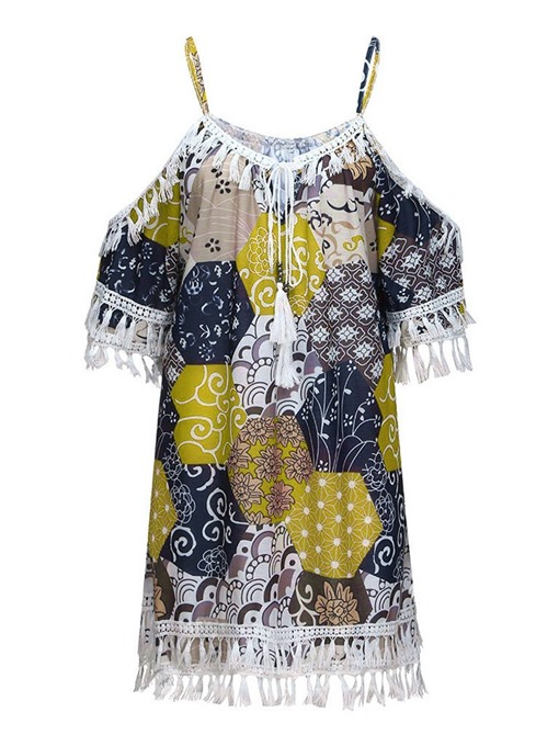 Ericdress Print Color Block Tassel Three-Quarter Sleeve Casual Blouse