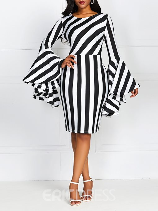 Ericdress Striped Flare Sleeve Above Knee Round Neck Bodycon Pullover Dress