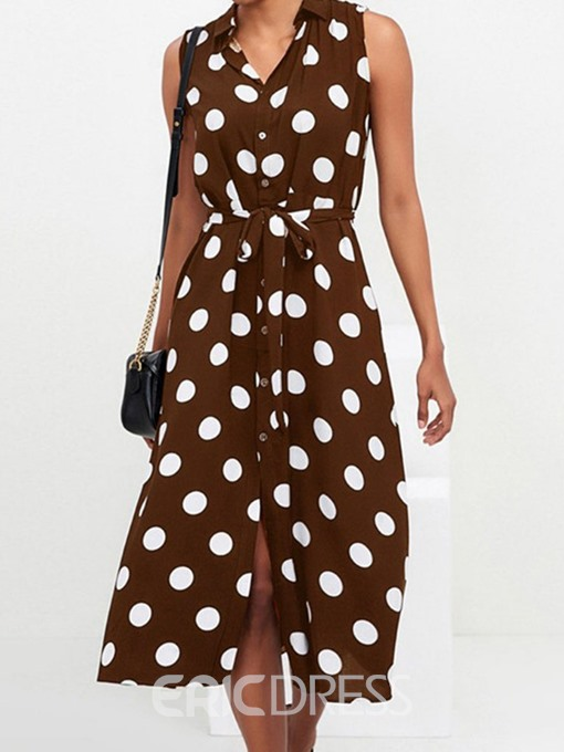 Ericdress Polka Dots Mid-Calf Sleeveless Lapel Fashion Chiffon Dress