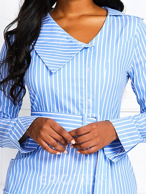 Ericdress Striped OL Long Sleeve Above Knee Lace-Up Single-Breasted High Waist Dress