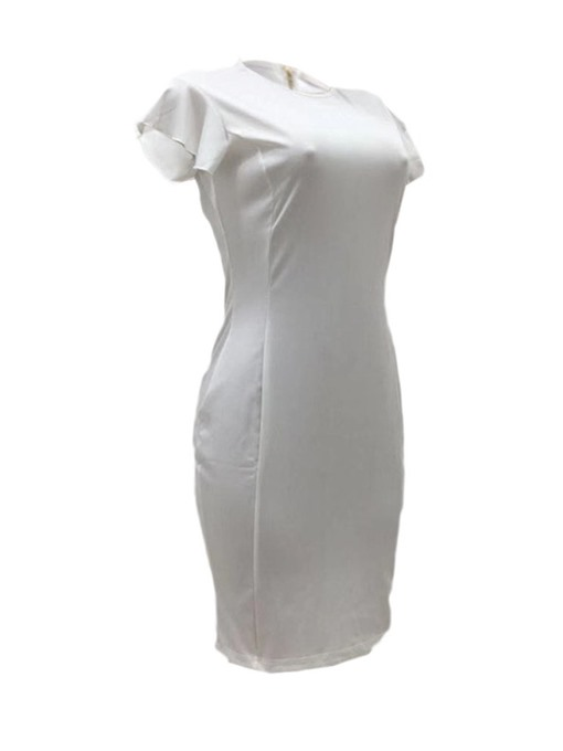 Ericdress Round Neck Knee-Length Stringy Cap Sleeve Sweet Bodycon White Dress